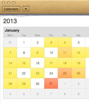 Apple's skeuomorphic calendar design