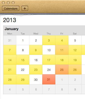 Apple's skeuomorphic calendar design